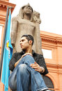 Egyptian man in the egyptian museum in egypt Royalty Free Stock Photo