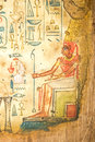 Egyptian painting on papyrus ancient hand Royalty Free Stock Image