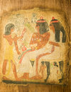 Egyptian queen cleopatra ancient hand painting on papyrus Royalty Free Stock Images