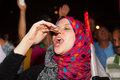 Egyptian revolution girl very happy sharing in the that brought down the muslim brotherhood Stock Photo