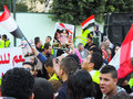 Egyptian revolution january ù‹women and men loves general sisi and share that brought down the muslim Stock Image