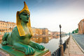 Egyptian sphinx and Neva embankment in Petersburg Royalty Free Stock Photography