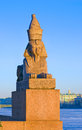 Egyptian sphinx at quay of neva ancient on universitetskaya univercity embankment river in front the imperial academy arts st Stock Images