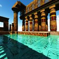 Egyptian temple columns in a Royalty Free Stock Image