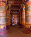 Egyptian temple columns filled with hieroglyphs Royalty Free Stock Photo