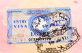 Egyptian visa stamp in the passport Royalty Free Stock Photo
