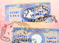 Egyptian visa stamp in the passport Royalty Free Stock Images