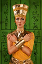 Egyptian woman in costume of the pharaoh portrait beautiful Stock Photos