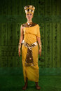 Egyptian woman in costume of the pharaoh portrait beautiful stylized into cleopatra Royalty Free Stock Photography