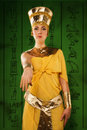 Egyptian woman in costume of the pharaoh portrait beautiful stylized into cleopatra Royalty Free Stock Photos