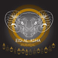 Eid-Al-Adha Mubarak. Vector illustration of sheep and lantern.
