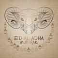 Eid-Al-Adha Mubarak. Vector illustration of sheep and lantern.