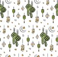 Eid al fitr or ramadan celebration cartoon doodle background for