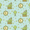 Eid al fitr or ramadan celebration cartoon doodle background for