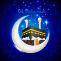 Eid mubarak blessing fo eid with kaaba on moon vector illustration of Royalty Free Stock Photography