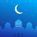 Eid Mubarak. Illustration with mosque, glowing moon and stars