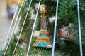 Eifel tower on a tree christamas decoration in french style with Royalty Free Stock Images