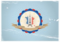 Eiffel badge illustration of vintage tour with flag colors Stock Photography