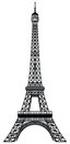 Eiffel tower black silhouette vector illustration Stock Photos