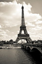 Eiffel tower black and white landscape Royalty Free Stock Photo