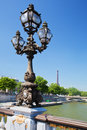 Eiffel tower and bridge on seine river in paris fance view from alexandre at sunny day Royalty Free Stock Image