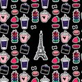 Eiffel Tower with coffee and macaroons. Paris style. Surface design. Vector sketch illustration stickers on black background.