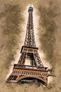 Eiffel tower at dusk Royalty Free Stock Photo