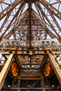 Eiffel tower elevator structure s abstract and mechanism illustrating the complexity of the steel from inside Stock Photo
