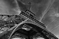 The eiffel tower extreme wide angle view of Royalty Free Stock Images