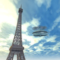 Eiffel tower with fantasy airship computer generated d illustration the in paris and Royalty Free Stock Image