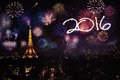Eiffel tower with fireworks and numbers 2016 Royalty Free Stock Photo