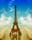 Eiffel tower with fountains over cloudy blue sky la tour champ de mars trocadero paris europe beautiful sunset landscape Royalty Free Stock Photo