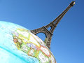 Eiffel tower on the globe Stock Images