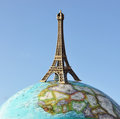 Eiffel tower on the globe Royalty Free Stock Images