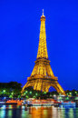 Eiffel tower hdr illuminated at night river seine on the foreground Royalty Free Stock Photography