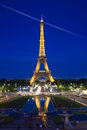 Eiffel Tower illuminated at blue hour Royalty Free Stock Image