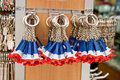 Eiffel tower key rings in a souvenir shop paris Royalty Free Stock Photos