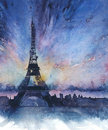 Eiffel tower landmark paris France travel destination sunset picturesque view stunning view watercolor painting Royalty Free Stock Photo