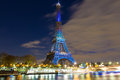 The Eiffel tower lit up in honor of climate talks in Paris, Fran Royalty Free Stock Photo