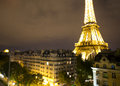 Eiffel tower lit up at night the using tilt shift focus Royalty Free Stock Image