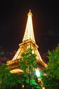 Eiffel tower at night the famous french the Stock Photography