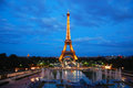 Eiffel tower at night the famous french the dusk Stock Image