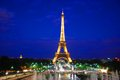 Eiffel tower at night the famous french the dusk Royalty Free Stock Images