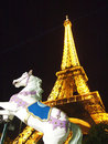 Eiffel Tower At Night with Horse model Paris Royalty Free Stock Images