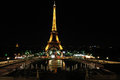Eiffel tower by night - Paris Stock Photo