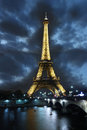 Eiffel Tower at night in Paris, France Stock Image