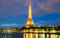 The Eiffel tower at night, Paris, France. Royalty Free Stock Photo