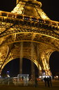 Eiffel tower at night paris france bottom view Royalty Free Stock Images