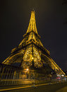 Eiffel tower in night paris france taken december Stock Photography