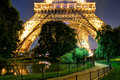 The eiffel tower at night in paris lighting of on september is one of major tourist attractions of france Stock Image